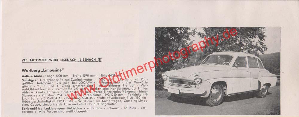 AWE Wartburg 312 Limousine Werbung 1965