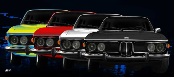 Poster BMW 3.0 E9 in 4color view