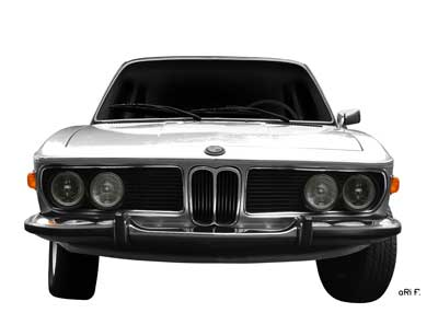 BMW 3.0 E9 in silver front view (Originalfarbe)