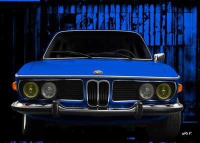 BMW 3.0 E9 in blue front view