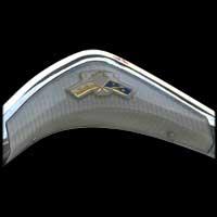 Logo Opel auf Lenkrad von Opel Rekord P2 (Detail-Ausschnitt)