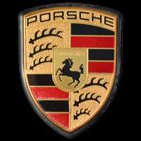 Logo Porsche flach gestaltet in Einprägung