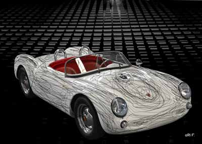 Porsche 550 Spyder with black lines created by aRi F.