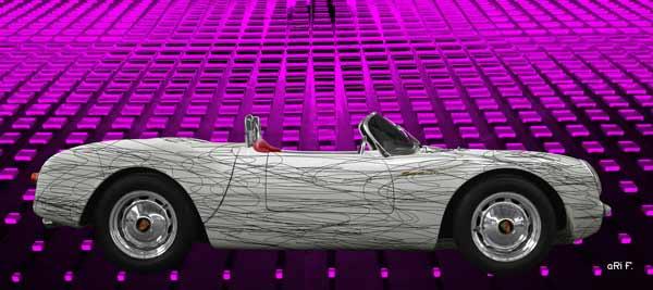 Porsche 550 Spyder in white & pink experimental