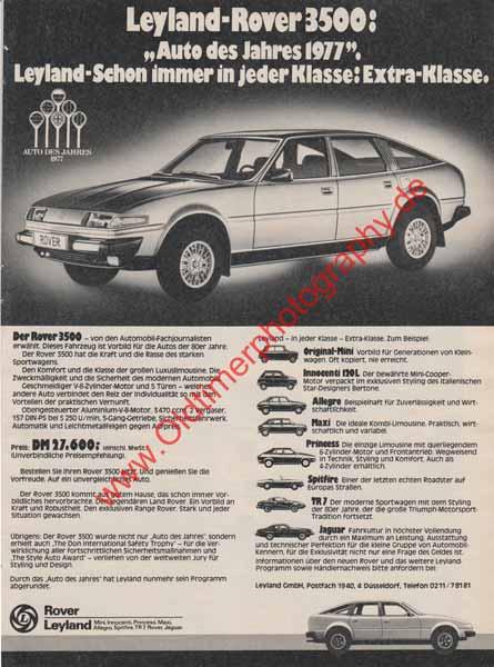 Rover 3500 Auto des Jahres 1977 Advertising Werbung in AMS 22-1977 Seite 149