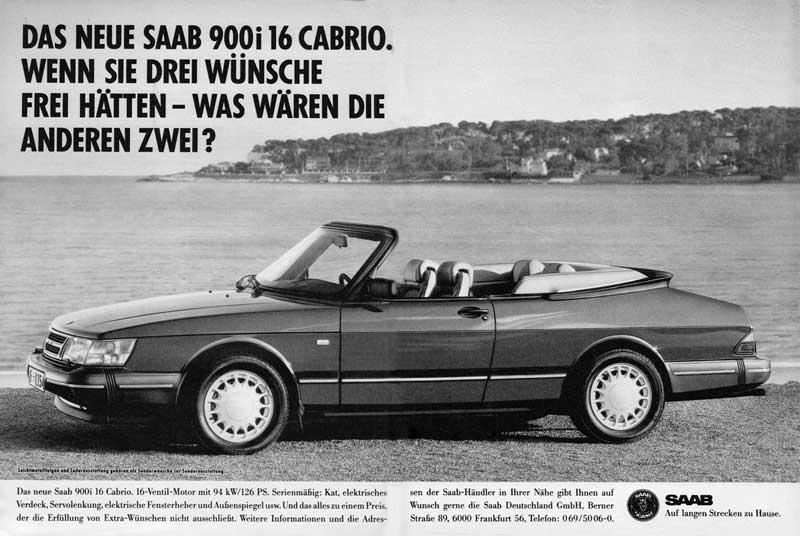 Saab 900i 16V Cabriolet in Zeitschrift mot Nr. 14 23. Juni 1989 Autoreklame Werbung Advertising