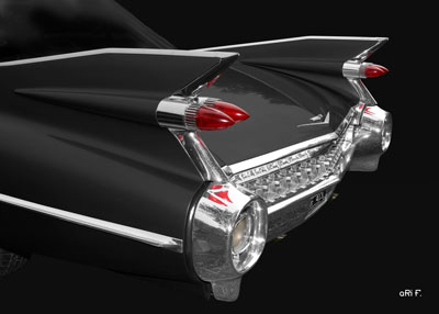 1959 Cadillac Serie 62 US Car Poster in black & red