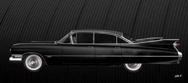 1959 Cadillac Serie 62 US-Klassiker Poster in black side view