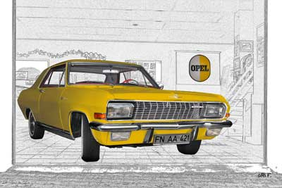 Opel Diplomat V8 Coupé in yellow & graphit