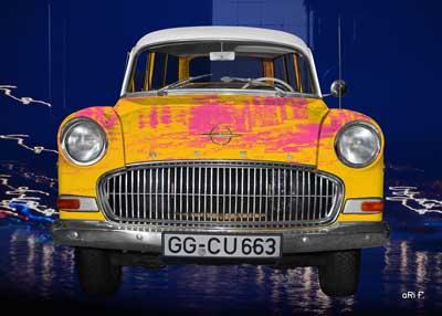 Opel Olympia Rekord Caravan as yellow art car