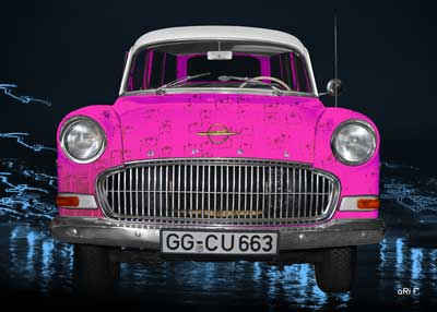 Opel Olympia Rekord Caravan Poster as pink Pop-art car