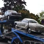 VW-Ankunft des VW-Sammeltransport mit Typ 3, VW 411 und Karmann Ghia Typ 14mit Typ 3, VW 411 und Karmann Ghia Typ 34