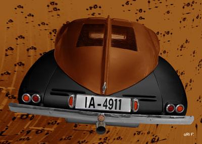Tatra 87 in black & copper rear view