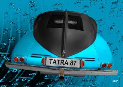 Tatra 87 Poster in black & blue rear view