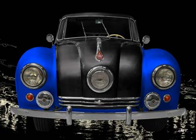 Tatra 87 Poster in black & blue front view