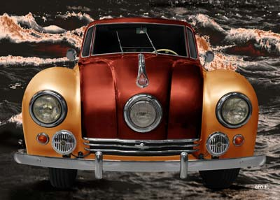 Tatra 87 Poster in orange & copper front view