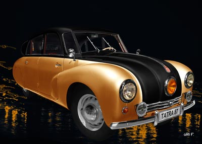 Tatra 87 Poster in orange & black side view