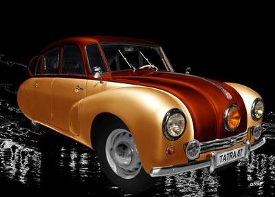 Tatra 87 in orange & copper side view