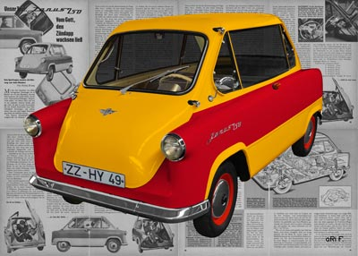 Zündapp Janus 250 in yellow & red