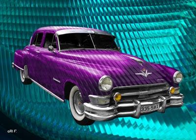 Chrysler Imperial Serie C54 Poster in pink & light blue
