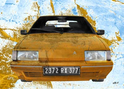 Citroen BX Poster stone washed in brown & blue