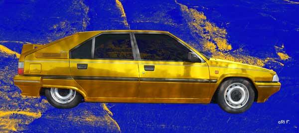 Citroen BX in yellow & blue