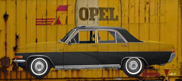 Opel Diplomat A Poster on Container in duotone