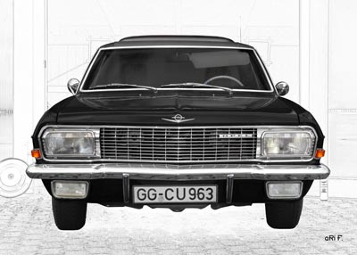 Opel Diplomat A in black & white graphit