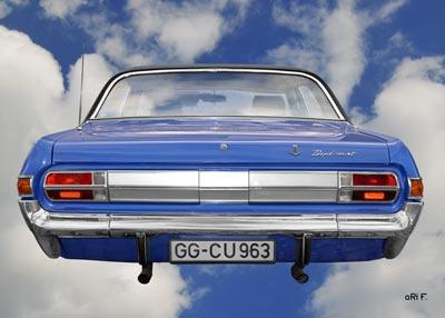 Opel Diplomat A aero Poster in Originalfarbe back side