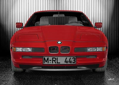 BMW 8er Poster in red & silver
