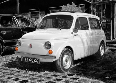 Fiat 500 Giardiniera Kombi in black & white 2