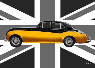 Bentley S2 black & gold metallic with Union Jack