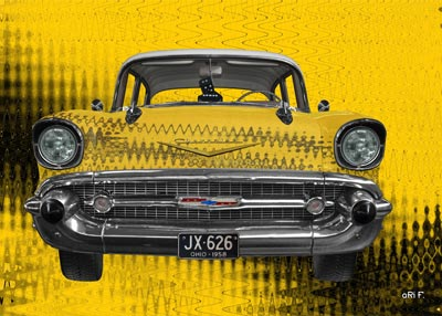 Chevrolet Bel Air as art car in yellow pur