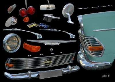 Opel Rekord P2 mit Anbauteile aus Chrome und Glas