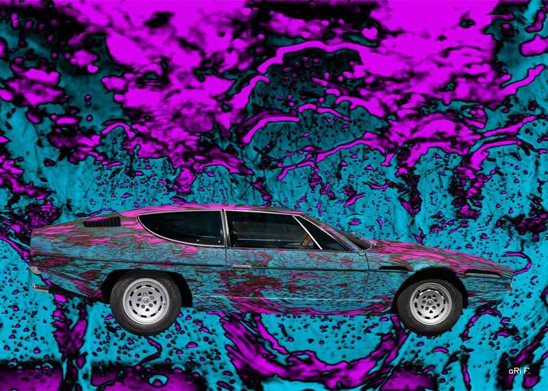 Lamborghini Espada art car in blue water pink
