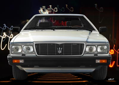 Maserati Quattroporte III in Originalfarbe Metallic-grün Poster front view
