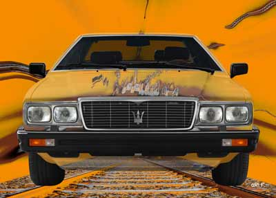 Maserati Quattroporte III front view Poster over the railway tracks 2
