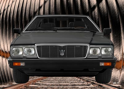 Maserati Quattroporte III front view Poster over the railway tracks 3