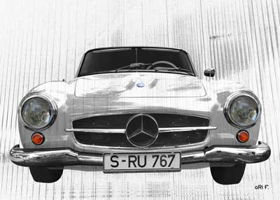 Mercedes-Benz 190 SL Poster in pure white
