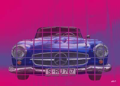Mercedes-Benz 190 SL Poster in mixed colors