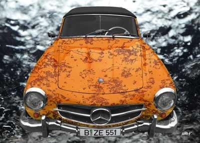 Mercedes-Benz W 121 B II Art Car Poster in special brown-orange