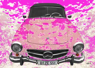 Mercedes-Benz 190 SL Art Car Poster in creative pink