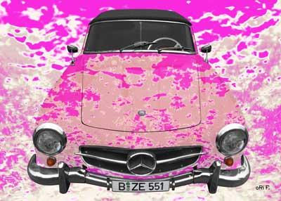 Mercedes-Benz 190 SL Art Car Poster in creative pink