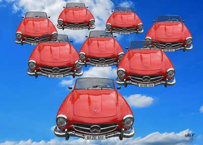Mercedes-Benz 190 SL Art Car Poster Flying in the Sky