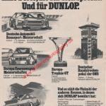 1973, Dunlop Reifen Werbung Europa-Trophäe GT