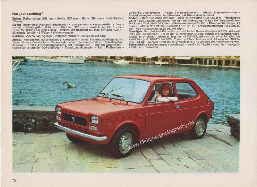 Fiat 127 2-türig Werbung aus Auto Modelle Katalog von 1972