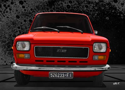 Fiat 127 front view Poster in Originalfarbe