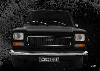 Fiat 127 front view Poster in black
