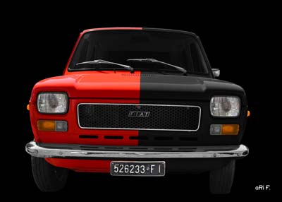 Fiat 127 Poster in red-black duotone