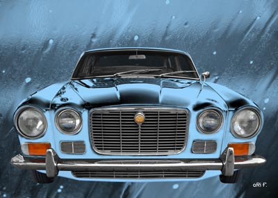 Jaguar XJ Serie 1 Poster in blue colors by aRi F.